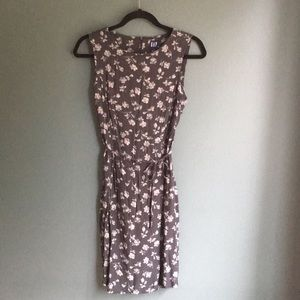 Gap blue floral dress tie waist